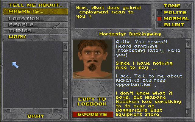 Скриншот к игре The Elder Scrolls II: Daggerfall